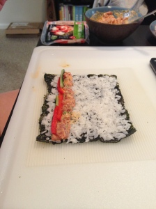 This is an example where the nori will be on the outside of the finished roll