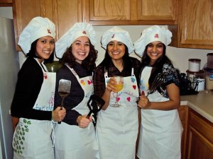 My college friends and me cooking up a storm!