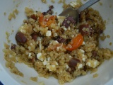 Quinoa with tomatoes, olives, and feta