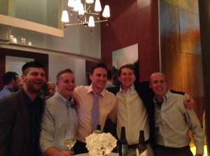 Ryan and his oldest friends. The groom is second from the right.